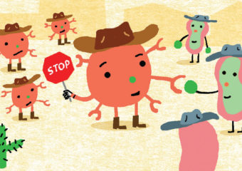 illustration of checkpoint blockade therapy, a type of immunotherapy