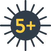 sun icon with a yellow number 5