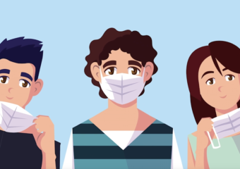 Illustration of young people wearing face masks Skin Cancer Foundation