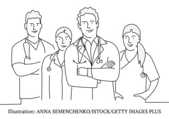 line drawing of doctor team